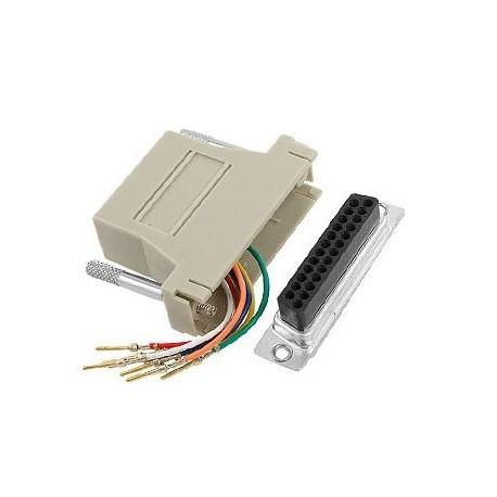 RJ45 Socket to D25 Female Modular D Adapter