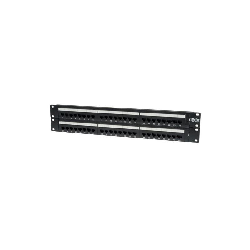 48-Port 2U Rack-Mount Cat6 110 Patch Panel, 568B, RJ45 Ethernet
